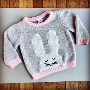 Hanna Andersson Fuzzy Gray Pink Bunny Sweater *C18
